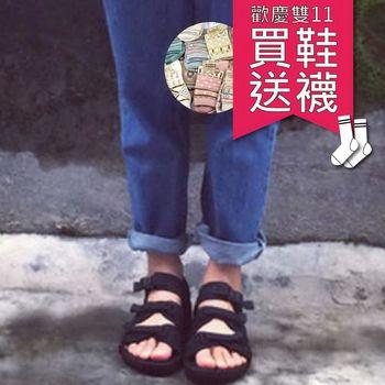 【雙11 買1送1】SEIO涼鞋 韓國 現貨ulzzang經典款暗黑百搭涼鞋zipper 魔鬼氈好穿簡約三條 黑色涼鞋 情侶 涼鞋 男女可穿 買涼鞋送日本襪襪 (圖樣隨機)