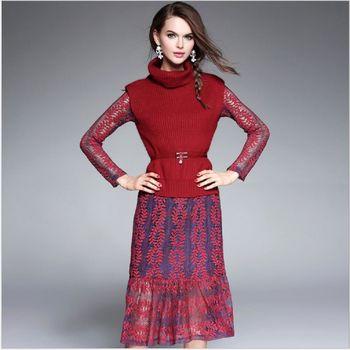 (現貨+預購 RN-girls)-歐美秋裝精品時尚兩件式高領毛衣背心蕾絲連身裙
