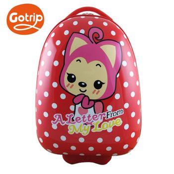 【GO TRIP 尚旅】 17吋 魅力紅 桃子卡通兒童行李箱/拉桿箱/登機箱