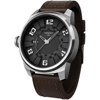 elegantsis Army JT48 都市實戰潮流腕錶-黑x咖啡/48mm ELJT48-2B01LC