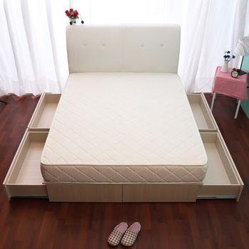 【HB】日系收納百變抽屜床座(四大空格+床墊)-加大6尺