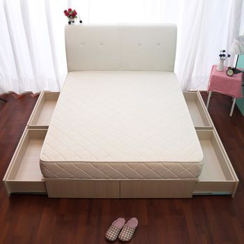 【HB】日系收納百變抽屜床座(四大空格+床墊)-單人3.5尺