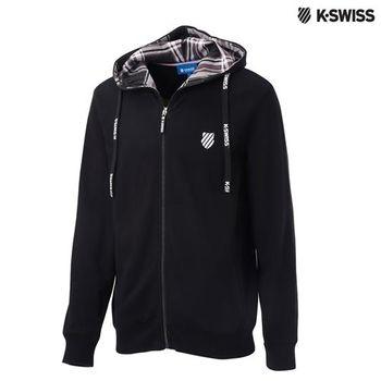 K-Swiss Hoodie Sweat Jacket格紋連帽外套-男-黑