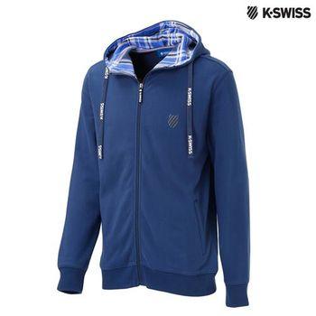 K-Swiss Hoodie Sweat Jacket格紋連帽外套-男-單寧藍