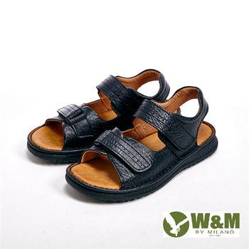 W&M雙帶魔鬼氈設計涼鞋 男鞋-黑(另有棕)