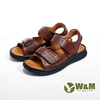 W&M雙帶魔鬼氈設計涼鞋 男鞋-棕(另有黑
