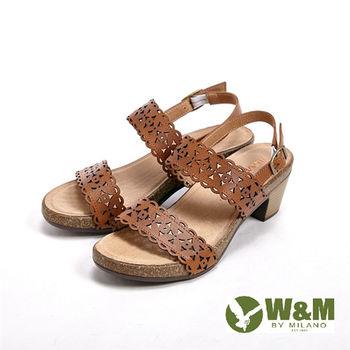 W&M雕花設計 環扣式增高涼鞋女鞋-棕(另有藍)