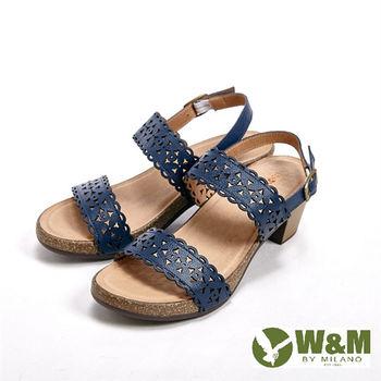 W&M雕花設計 環扣式增高涼鞋女鞋-藍(另有棕)