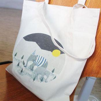 【SEIO】帆布包 環保包 經典歐美 SEIO 自定款設計環保帆布包 大象森林 寧靜月亮 手拿肩背包