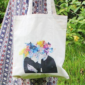 【SEIO】帆布包 環保包 經典歐美 SEIO 自定款設計環保帆布包 渲染文藝愛人 手拿肩背包