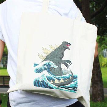 【SEIO】帆布包 環保包 經典歐美 SEIO 自定款設計環保帆布包 神奈川哥吉拉 手拿肩背包