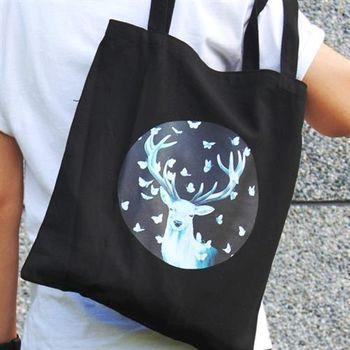 【SEIO】帆布包 環保包 經典歐美 SEIO 自定款設計環保帆布包 夜晚黑白 蝴蝶麋鹿 手拿肩背包