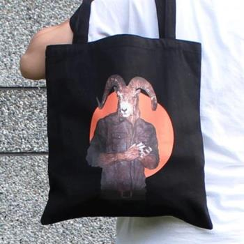 【SEIO】帆布包 環保包 經典歐美 SEIO 自定款設計環保帆布包 黑色幽默 羊男 手拿肩背包