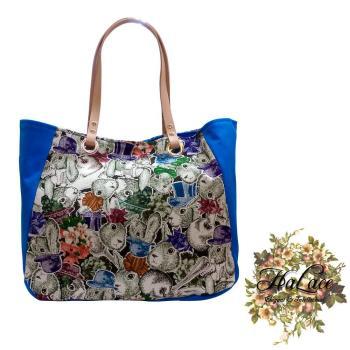 【HaLace創意手工拼布包】天藍色紳士淑女兔三層包