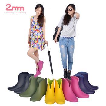 【2mm】玩色系V型時尚內增高輕量短筒雨靴/雨鞋(五色任選)