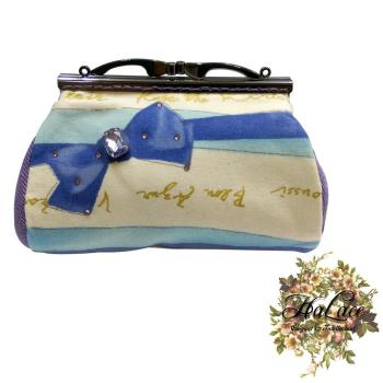 【HaLace創意手工拼布包】波斯藍蝴蝶結零錢包