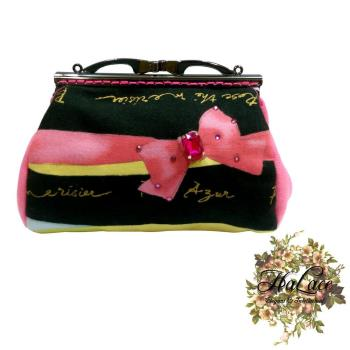 【HaLace創意手工拼布包】粉色蝴蝶結零錢包