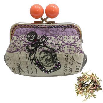 HaLace創意手工拼布包】柿子橙巴黎香水零錢包