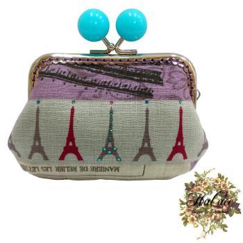 【HaLace創意手工拼布包】水藍色巴黎鐵塔零錢包