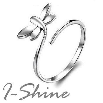 【I-Shine】蜻蜓點水-925純銀-蜻蜓造型開口戒指