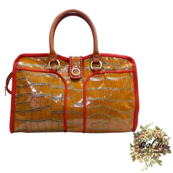 【HaLace創意手工拼布包】時尚彷鱷魚皮手提包