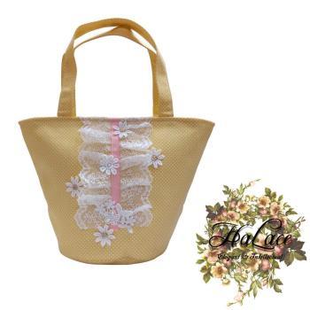 【HaLace創意手工拼布包】鵝黃雛菊蕾絲手提包