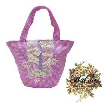 【HaLace創意手工拼布包】錦葵紫雛菊蕾絲手提包