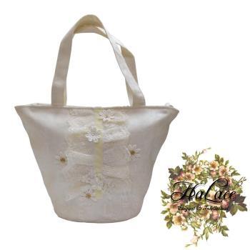 【HaLace創意手工拼布包】純白雛菊蕾絲手提包