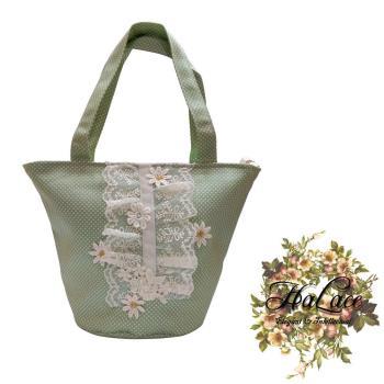 【HaLace創意手工拼布包】嫩綠雛菊蕾絲手提包