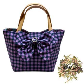 【HaLace創意手工拼布包】紫丁香水鑽蝴蝶結手提包(小)