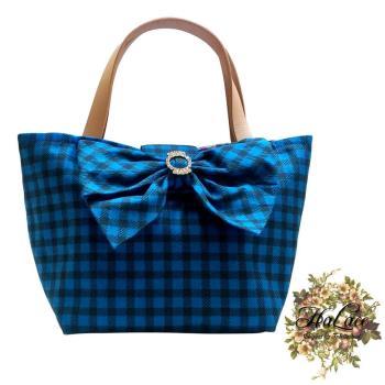 【HaLace創意手工拼布包】丹寧藍水鑽蝴蝶結手提包(小)