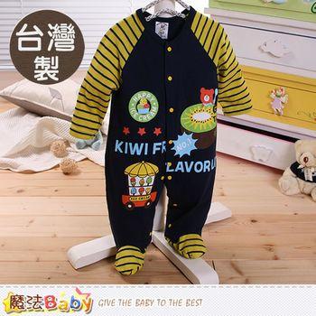 魔法Baby包屁衣 台灣製薄長袖包腳連身衣~k60208
