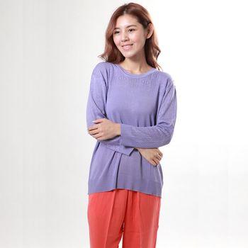 BELLA VITA 100%蠶絲圓領寬版絹絲長袖上衣(紫色)