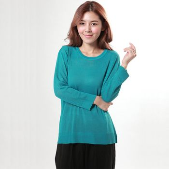 BELLA VITA 100%蠶絲圓領寬版絹絲長袖上衣(粉綠)