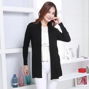 BELLA VITA 蠶絲絹絲長版披肩式外套(黑色)