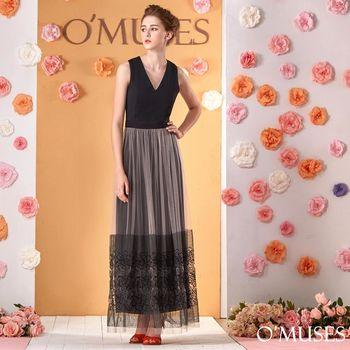 【OMUSES】蕾絲刺繡花飄逸長洋裝28-1490(S-XL)