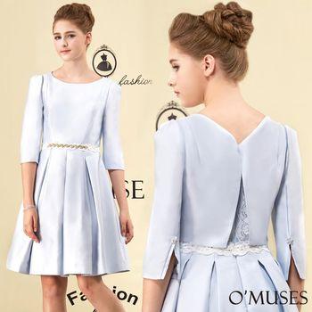 【OMUSES】背後開叉蕾絲刺繡洋裝28-1624(S-2L)