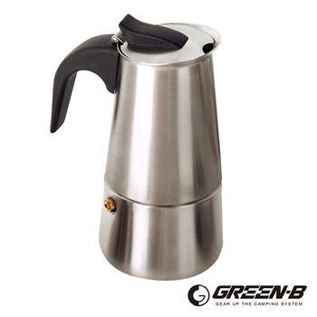 GREEN-B 戶外露營便攜式不鏽鋼摩卡咖啡壺