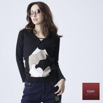 KIINO 優雅幾何配色假兩件混紡羊絨衫(3822-1058)