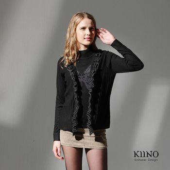 【KIINO】荷葉假兩件混紡羊絨衫(黑 3822-1041-01)