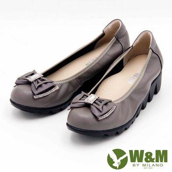 W&M 金屬蝴蝶結素面厚底娃娃鞋-灰(另有黑)