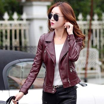 。DearBaby。韓版時尚俐落短款質感皮衣外套-四色(預購)