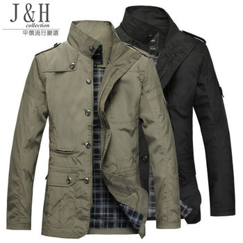 [ JH嚴選 ]型男韓版立領修身風衣外套L-4XL