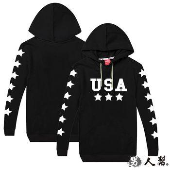 【男人幫】USA星星連帽口袋長袖T恤 (T5751)
