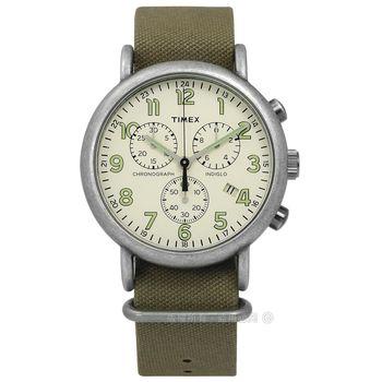 TIMEX 天美時/ TXT2P85500 / INDIGLO 美國復古百搭系列帆布手錶 米x灰框x墨綠 40mm