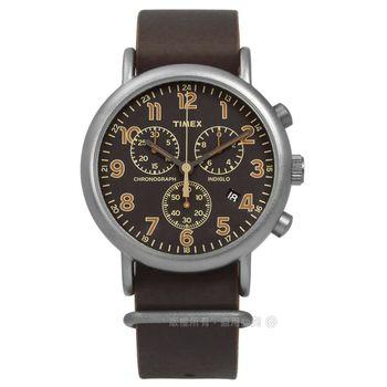 TIMEX 天美時/ TXT2P85400 / INDIGLO 美國復古百搭系列真皮手錶 深咖啡x灰框 40mm