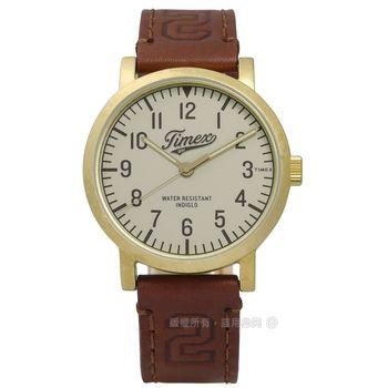 TIMEX 天美時/ TXT2P96700 / INDIGLO University 美式學院風格真皮手錶 灰x金框x咖啡 40mm
