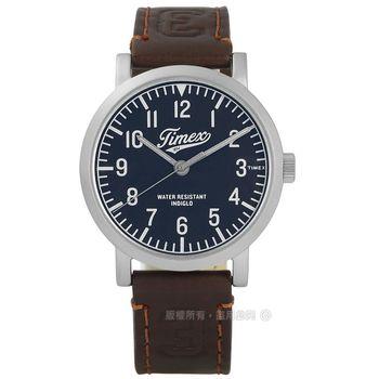 TIMEX 天美時/ TXT2P96600 / INDIGLO University 美式學院風格真皮手錶 深藍x深咖啡 40mm
