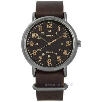 TIMEX 天美時/ TXT2P85800 / INDIGLO 週末系列真皮手錶 深灰x灰框x深咖啡 40mm