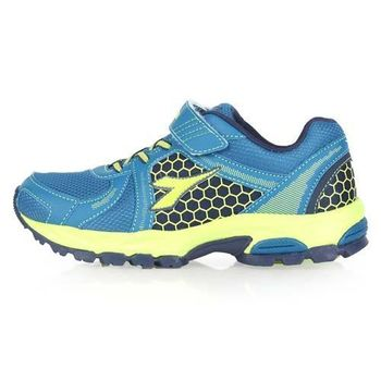 【DIADORA】男女大童越野跑鞋-慢跑 路跑 藍螢光綠